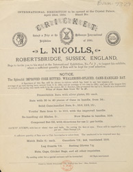 Advert For L. Nicolls Cricket Bat Manufacturer